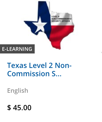 Texas Level 2 Non-Commission Security Certificate Course